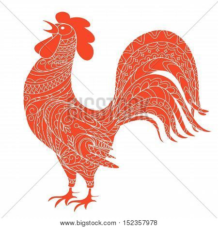 Isolated hand drawn decorated red rooster symbol 2017 of year red rooster of Chinese calendar. Zen tangled rooster can be used for adult coloring book. eps 10