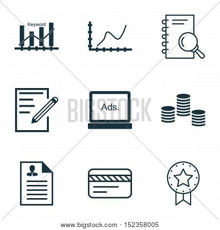 Set Of 9 Universal Editable Icons For Education, Travel And Advertising Topics. Includes Icons Such