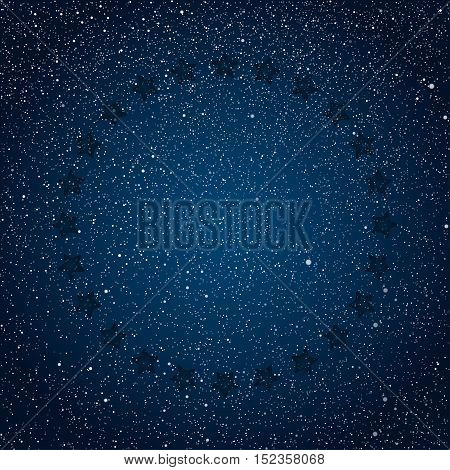 Vector abstract background. Stars in a circle with shadow. Eps 10. The night the starry dark blue sky in stars.