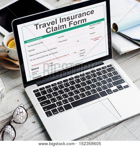 Travel Insurance Claim Form Destination Policy Concept