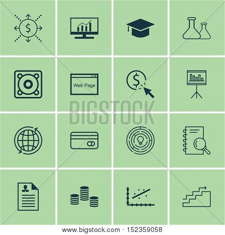 Set Of 16 Universal Editable Icons For Seo, Statistics And Marketing Topics. Includes Icons Such As