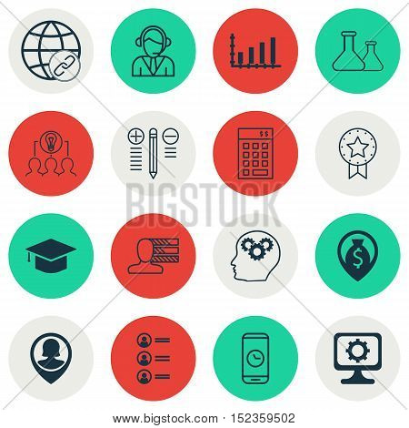 Set Of 16 Universal Editable Icons For Human Resources, Project Management And Education Topics. Inc