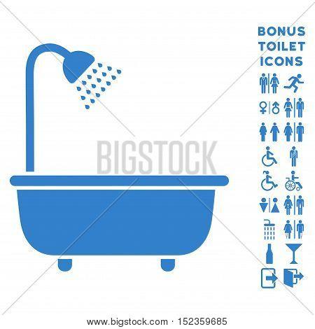 Bath Shower icon and bonus male and female lavatory symbols. Vector illustration style is flat iconic symbols, cobalt color, white background.