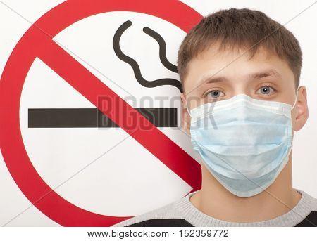 Man. No smoking concept a no smoking sign