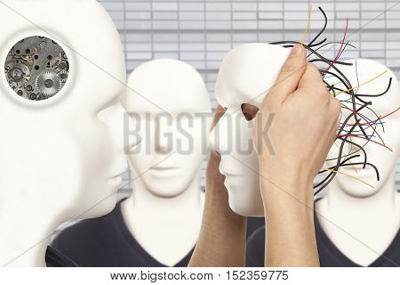 Cyborg, clone, robot and artificial man concept -  android robot holds clone white face mask