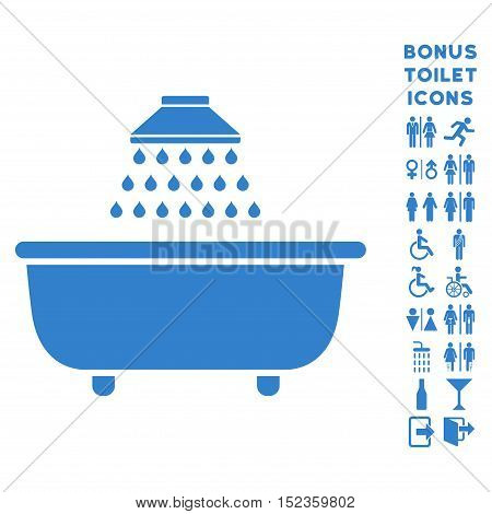 Bath Shower icon and bonus male and lady restroom symbols. Vector illustration style is flat iconic symbols, cobalt color, white background.