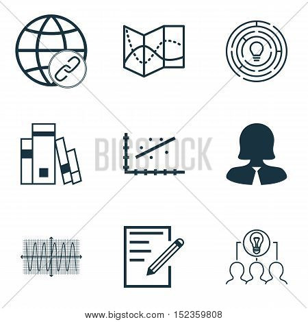 Set Of 9 Universal Editable Icons For Human Resources, Education And Statistics Topics. Includes Ico
