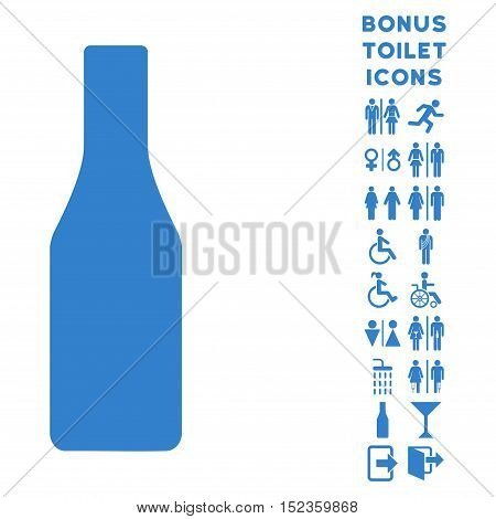 Beer Bottle icon and bonus gentleman and lady lavatory symbols. Vector illustration style is flat iconic symbols, cobalt color, white background.