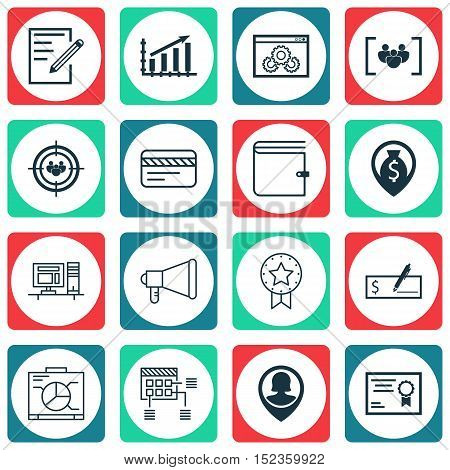 Set Of 16 Universal Editable Icons For Statistics, Seo And Human Resources Topics. Includes Icons Su