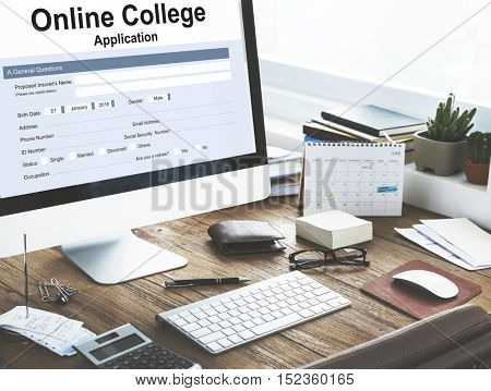 Online Collage Application Document Form Concept