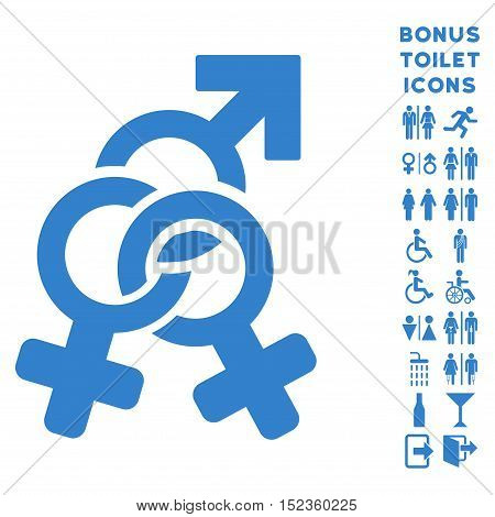 Double Mistress icon and bonus gentleman and woman WC symbols. Vector illustration style is flat iconic symbols, cobalt color, white background.