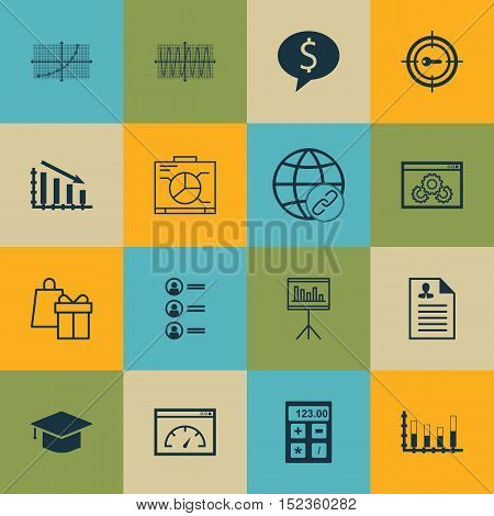 Set Of 16 Universal Editable Icons For Project Management, Education And Advertising Topics. Include