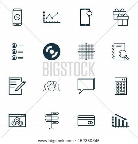 Set Of 16 Universal Editable Icons For Business Management, Airport And Seo Topics. Includes Icons S