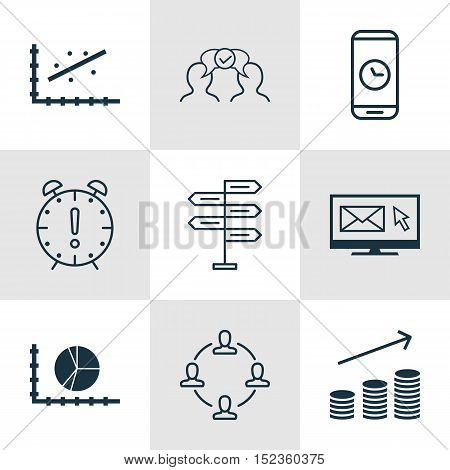 Set Of 9 Universal Editable Icons For Statistics, Marketing And Project Management Topics. Includes