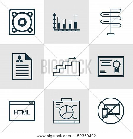 Set Of 9 Universal Editable Icons For Marketing, Human Resources And Computer Hardware Topics. Inclu