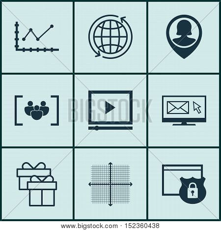 Set Of 9 Universal Editable Icons For Advertising, Seo And Airport Topics. Includes Icons Such As Vi
