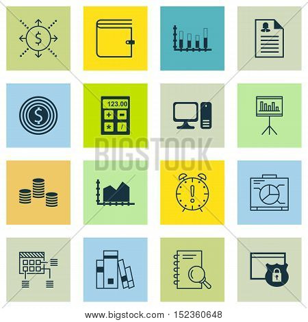 Set Of 16 Universal Editable Icons For Education, Statistics And Project Management Topics. Includes
