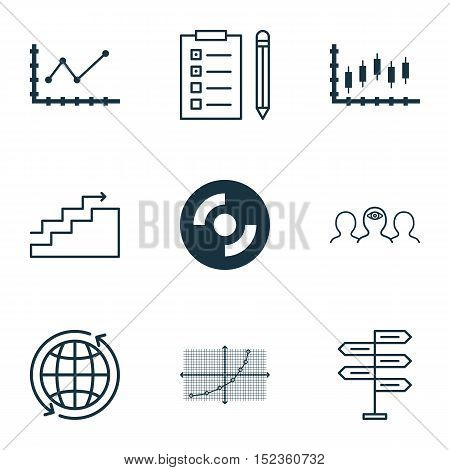 Set Of 9 Universal Editable Icons For Project Management, Business Management And Computer Hardware