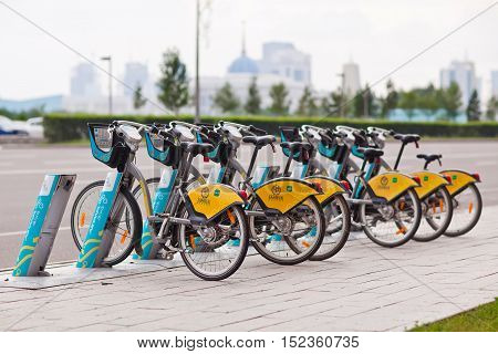 Astana, Kazakhstan - July 28, 2016: Urban bicycle rental.