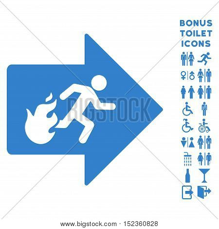 Fire Exit icon and bonus male and female WC symbols. Vector illustration style is flat iconic symbols, cobalt color, white background.