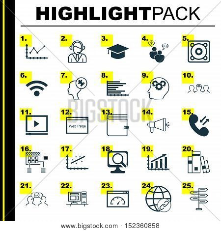 Set Of 25 Universal Editable Icons For Advertising, Computer Hardware And Marketing Topics. Includes