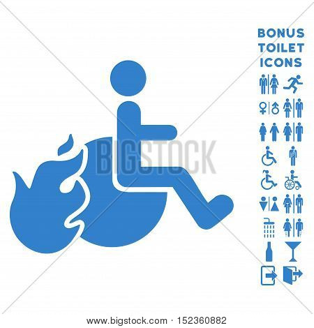 Fired Patient icon and bonus gentleman and woman lavatory symbols. Vector illustration style is flat iconic symbols, cobalt color, white background.