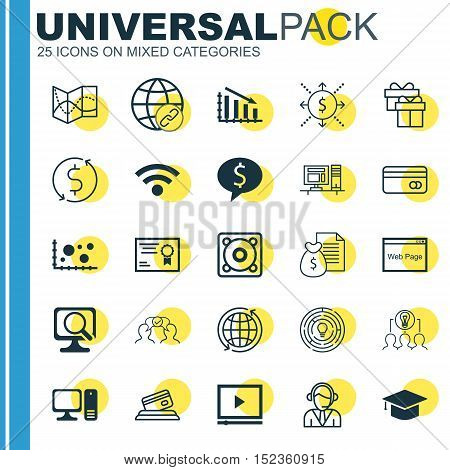 Set Of 25 Universal Editable Icons For Computer Hardware, Seo And Statistics Topics. Includes Icons
