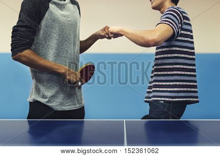 Table Tennis Ping-Pong Friends Sport Concept