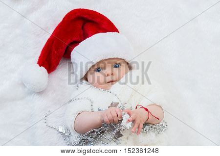 Cute Newborn Christmas Baby In Santa  Hat