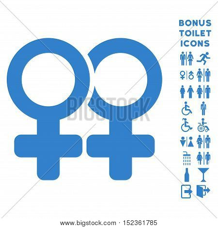 Lesbi Pair icon and bonus male and female restroom symbols. Vector illustration style is flat iconic symbols, cobalt color, white background.