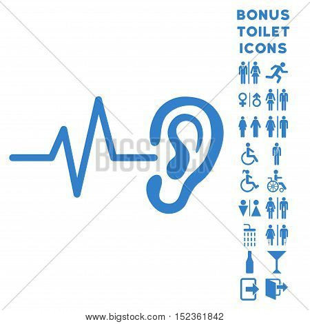 Listen Ear icon and bonus male and female lavatory symbols. Vector illustration style is flat iconic symbols, cobalt color, white background.