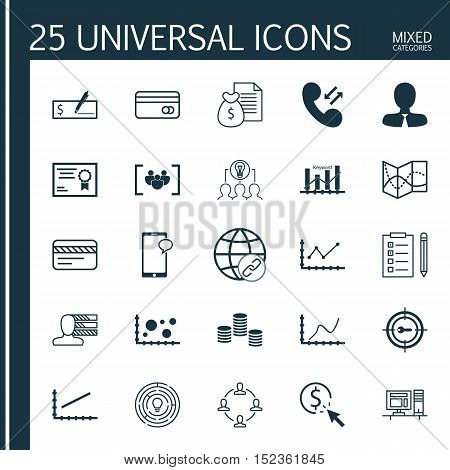 Set Of 25 Universal Editable Icons For Marketing, Business Management And Statistics Topics. Include