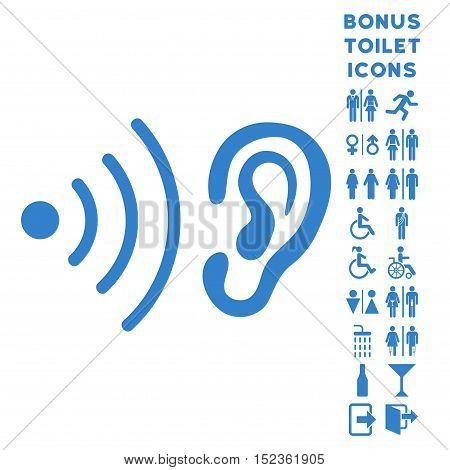Listen News icon and bonus gentleman and female lavatory symbols. Vector illustration style is flat iconic symbols, cobalt color, white background.