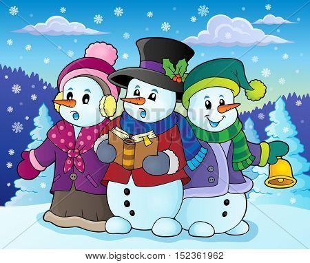 Snowmen carol singers theme image 4 - eps10 vector illustration.
