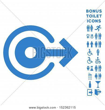 Log Out icon and bonus man and female lavatory symbols. Vector illustration style is flat iconic symbols, cobalt color, white background.