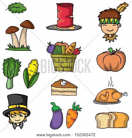 Doodle of thanksgiving vegetable set vector art