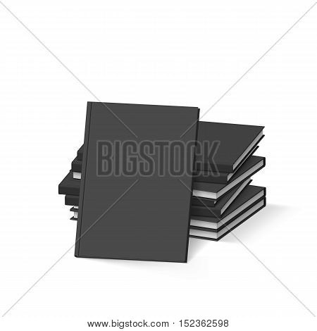 Stack of Blank Black Books on White. Mockup Template