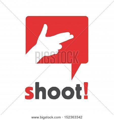 Vector sign speak cloud with shoot illustration isolated in white