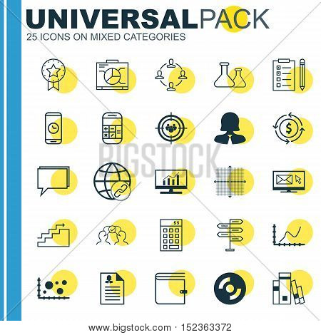 Set Of 25 Universal Editable Icons For Marketing, Education And Statistics Topics. Includes Icons Su