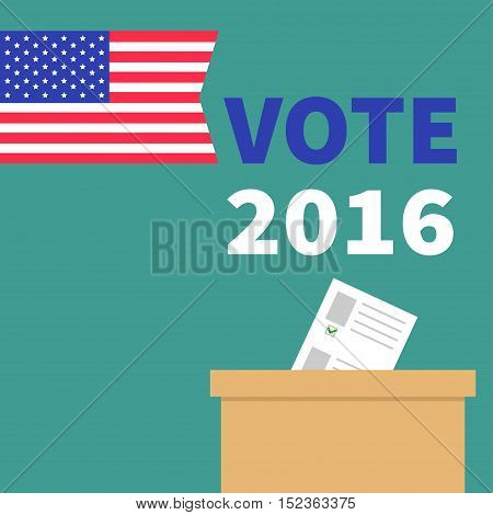 Ballot Voting box with paper blank bulletin concept. Polling station. President election day Vote 2016. American flag. Isolated Green background Flat design Card. Vector illustration