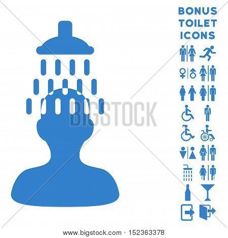 Man under Shower icon and bonus gentleman and female lavatory symbols. Vector illustration style is flat iconic symbols, cobalt color, white background.