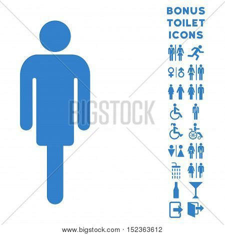Man icon and bonus gentleman and female lavatory symbols. Vector illustration style is flat iconic symbols, cobalt color, white background.