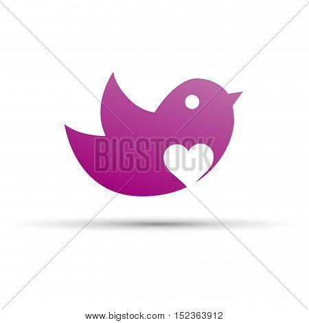 Vector sign bird with a purple heart