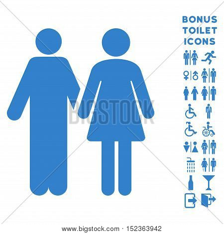 Married Couple icon and bonus male and female lavatory symbols. Vector illustration style is flat iconic symbols, cobalt color, white background.