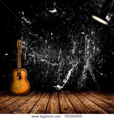 Guitar in the interior of a vintage concert hall