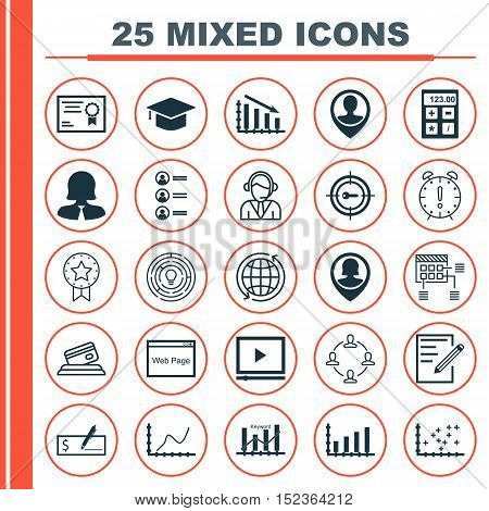 Set Of 25 Universal Editable Icons For Statistics, Seo And Advertising Topics. Includes Icons Such A