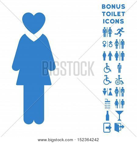 Mistress icon and bonus gentleman and woman lavatory symbols. Vector illustration style is flat iconic symbols, cobalt color, white background.