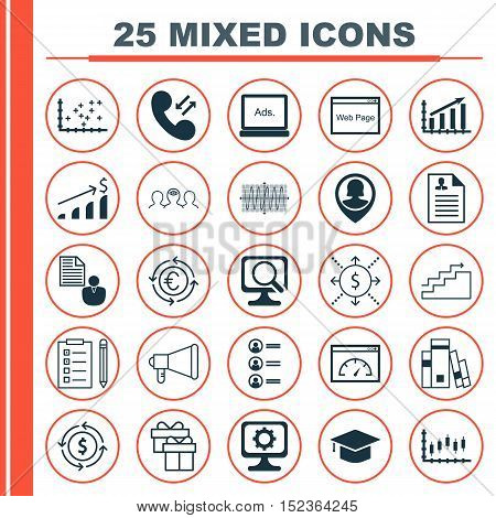 Set Of 25 Universal Editable Icons For Seo, Project Management And Education Topics. Includes Icons