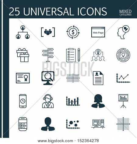 Set Of 25 Universal Editable Icons For Human Resources, Education And Marketing Topics. Includes Ico