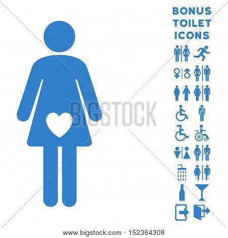 Mistress icon and bonus man and female toilet symbols. Vector illustration style is flat iconic symbols, cobalt color, white background.